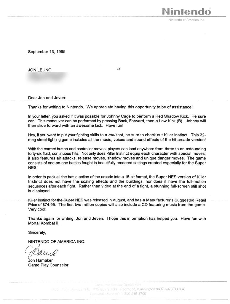 Nintendo Letter (September 13, 1995)